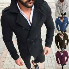 Mens Double-Breasted Winter Trench Coat Slim Belted Warm Overcoat Jacket Peacoat