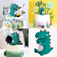 2PCS Dinosaur Cake Topper Home Fondant Ornament Cute Figurine Kid Birthday Decor