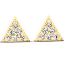 G/VS 14k Oro Amarillo Triángulo allanar .12Ct Diamante Pendientes De Mujer Tachas delicado
