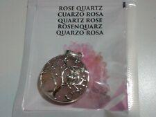 Pendentif Arbre de la Vie et Hibou Quartz Rose Naturel 25 mm - 1 Unité
