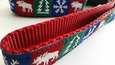 "Dog Leash 5ft  1"" Wide Lead  - Christmas Holiday Theme"