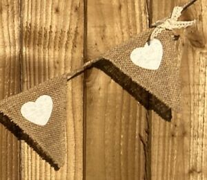 Hessian Bunting - White Heart & Lace Rustic Wedding Event Christening Decor 6ft