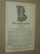 Prospectus Moteur BERNARD W14 avec tarif 1950  Motor Tracteur traktor brochure