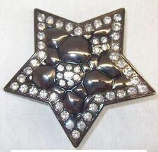"""1 Schließe Gürtelschnalle Schnalle """"Stern"""" 4 cm anthrazit mit Kristallen 08.143"""