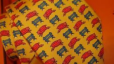 HERMES silk tie whimsical collection  with sheep jumping  NEW not boxed