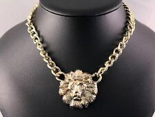 Alloy Gold Tone Lion Statement Chain/Necklace w/Free Jewelry Box and Shipping