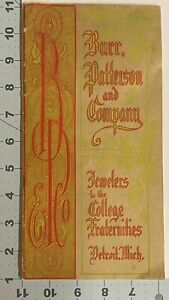 Catalog Burr Patterson & Co. Detroit Michigan Jewelers to College Fraternities