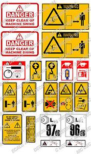 JCB MINI DIGGER SAFETY WARNING DECAL STICKER SET