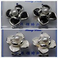 pretty silver tone black / white flower earrings, multiple choices