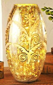 """Hand-Painted Mercury Glass Vase features a charming floral motif 7"""" dia. x 13""""H"""