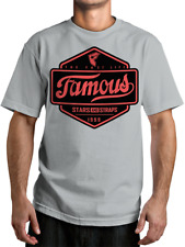 FAMOUS Top Choice Mens Tee – Silver Stars And Straps Street Skate Moto Surf