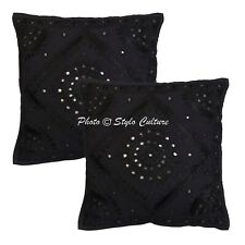 Ethnic Cotton Throw Pillow Covers Black 40cm Embroidered Mirrored Cushion Covers
