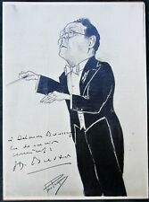 French Conductor Henri Büsser - Signed Caricature Photo ca 1930