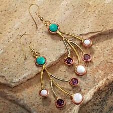 New Tara Mesa Turquoise, Moonstone & Amethyst Dangle Earrings
