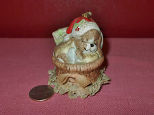 Vintage Jasco Porcelain Christmas Puppy Dog in Basket Bell Taiwan ^