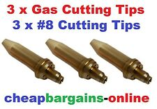 GAS WELDING CUTTING TIPS 3 TIPS #8 TYPE 41 QUALITY NOZZLES FOR OXY ACETYLENE KIT