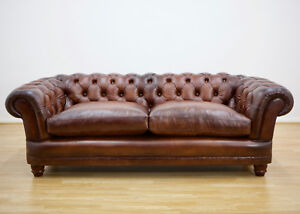 John Lewis New Chatsworth Leather Chesterfield Grand Sofa, Antiqued