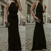 Womens Formal Halter Neck Bodycon Long Maxi Dress Party Evening Prom Tunic Gown