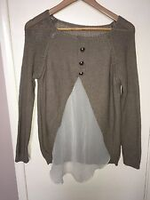 "Ladies Brown Knit Jumper With Gold Buttons Chest 36""<NH315"