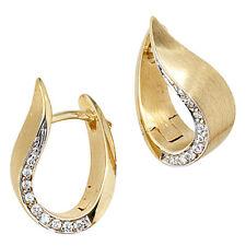 Creolen echt 585 Gold Gelbgold Teilrhodiniert mattiert 18 Diamant brillanten Ohr