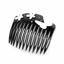 Moliabal Hair Comb-  Black    White Flower &  Butterfly Accents