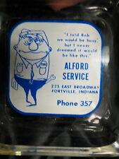 1950 era Pure Oil Gas station ashtray / phone 357 Fortville Indiana / cartoon