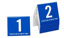 Plastic Table Numbers 1-20 Tent Style, Blue w/white number, Free shipping