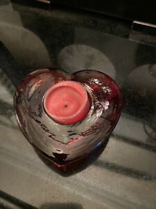 red Glass heart shaped tealight candle holder
