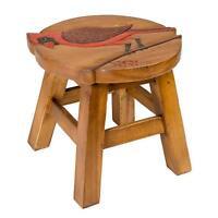 Cardinal Design Hand Carved Acacia Hardwood Decorative Short Stool