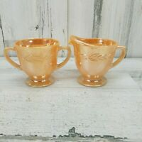 Vintage Fire King Peach Lustre Laurel Leaf Glass Creamer Sugar Bowl Set USA