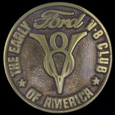 Vtg NOS 70s Early Ford V-8 Club America Emblem Car Flathead Brass Belt Buckle