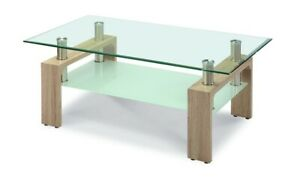 Telford Coffee Table Clear Glass Top Frosted Glass Shelf Natural Legs