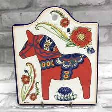 Tile Red Dala Horse Dalahäst Cheese Board Plaque Sign Wall Hanging Sweden