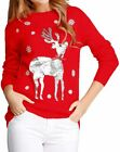v28 Ugly Christmas Sweater for Women Reindeer Funny Merry Xmas Knit Sweaters