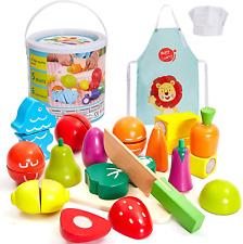 Hersity de madera juguetes de frutas y verduras de corte Niños Conjunto de Alimentos Cocina Con y