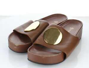 02-50 $268 Women's Sz 9 M Tory Burch Patos Leather Slide In Vintage Brown