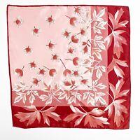 "Vera Neumann 60s 70s VTG Square Pink Japanese Maple Print Scarf 22""x22"""