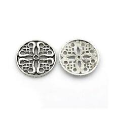 Antique Silver Tibetan Flat Round Spacer Beads 24mm 10 Pcs Art Hobby Jewellery