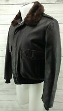 VTG Cooper Leather Jacket Size 42 Bomber Flight Motorcycle Fur Collar Brown USA