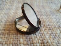 Vintage Miniature Faux Tortoiseshell Oval Powder Compact & Mirror