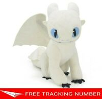 "12"" LIGHT FURY How to Train Your Dragon 3 DreamWorks World Movie Doll Plush Toys"