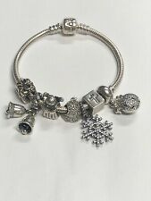 Authentic Pandora 925 Christmas Themed Charm Bracelet With 7 Charms
