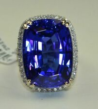 15Ct Cushion Sapphire Synt Diamond Solitaire Statement Ring White Gold FN Silver