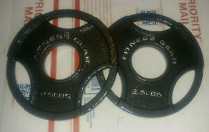 """(2) 2.5 lb Fitness Gear Olympic Cast Iron Weight Plates 2"""" NEW"""