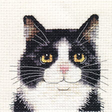 BLACK & WHITE CAT, KITTEN ~ Full counted cross stitch kit + All materials  *Fido