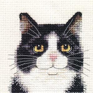 BLACK & WHITE CAT KITTEN Full counted cross stitch kit All materials Fido Stitch