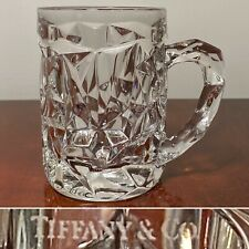 New Authentic Signed TIFFANY & CO Rock-Cut Crystal Glass 16 oz. Beer/Coffee Mug