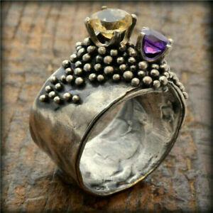 Fashion 925 Silver Amethyst Purple Gemstone Ring Women Men Jewelry Wedding Gift