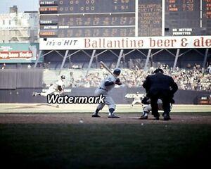 MLB 1966 Yankees Mel Stottlemyre Pitching to Tiger Al Kaline Color 5 x 7 Photo