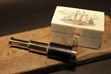 Vintage Antique Style Schooner Sail Ship Bone & Wood Scrimshaw Box w Telescope